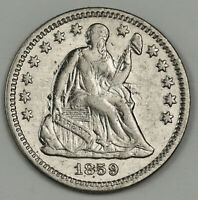 1859-O SEATED LIBERTY DIME.  CLASHED DIE OBVERSE.  X.F.  140010