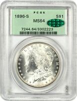 1896-S $1 PCGS/CAC MINT STATE 64 OGH OLD GREEN LABEL HOLDER - MORGAN SILVER DOLLAR
