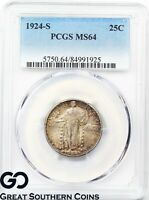 1924-S STANDING LIBERTY QUARTER PCGS MINT STATE 64  COULD GO FULL HEAD, FH BID $2500