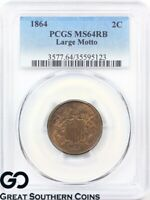 1864 PCGS TWO CENT PIECE MS 64 RED BROWN   NICE MINT LUSTER RAZOR SHARP PQ