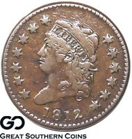 1812 LARGE CENT, CLASSIC HEAD, SMALL DATE, KEY DATE EARLY COPPER  FREE S/H