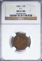 1854 BRAIDED HAIR HALF CENT NGC MINT STATE 61BN C-1