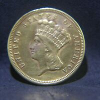 1854 INDIAN HEAD $3 GOLD COIN   FORMER JEWELRY PIECE