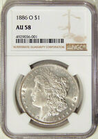 1886-O $1 NGC AU 58  A PQ WELL STRUCK AND SEMI-PL NEW ORLEANS MORGAN DOLLAR
