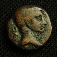 19 MACEDON PHILIPPI AUGUSTUS RV COLONISTS 2 OXEN 5.80 GRAMS 19MM 27 BC   14 AD