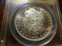 1888-O ANACS MINT STATE 62 DMPL  MORGAN DOLLAR NEW ORLEANS MINT CAMEO SLABZ