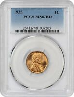 1935 1C PCGS MINT STATE 67 RD - FLASHY - LINCOLN CENT - FLASHY