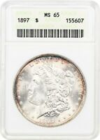 1897 $1 ANACS MINT STATE 65 - MORGAN SILVER DOLLAR
