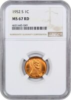 1952-S 1C NGC MINT STATE 67 RD - LINCOLN CENT