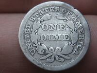 1845 P SEATED LIBERTY SILVER DIME- FULL DATE