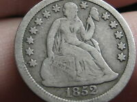 1852 SEATED LIBERTY SILVER DIME, FULL DATE, VG/FINE DETAILS