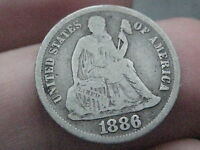 1886-S SEATED LIBERTY DIME- VG/FINE DETAILS- LOW MINTAGE KEY DATE