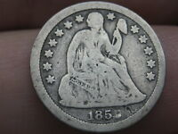 1859 P SEATED LIBERTY SILVER DIME- VG DETAILS