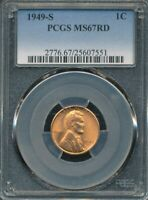 1949-S LINCOLN CENT PCGS MINT STATE 67 RD
