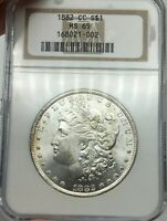 1882-CC NGC MINT STATE 65 MORGAN SILVER DOLLAR STUNNING LUSTER & HIGH GRADE