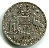 1939 KGVI FLORIN STERLING SILVER COIN   ' KEY DATE' FINE  CO