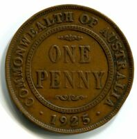 1925 KGV PENNY   FINE  CONDITION  DIE CRACK