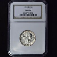 1923-S 25C STANDING LIBERTY SILVER QUARTER DOLLAR KEYDATE NGC MINT STATE 63