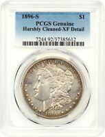 1896-S $1 PCGS EXTRA FINE  DETAILS HARSHLY CLEANED - MORGAN SILVER DOLLAR