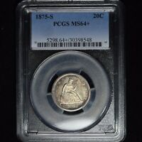1875 S 20C SEATED LIBERTY 20 CENT SILVER PIECE PCGS MS64  KILLER ALBUM TONING