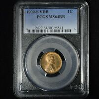 1909-S VDB 1C KEYDATE LINCOLN WHEAT CENT PENNY PCGS MINT STATE 64RB GREAT EYE APPEAL