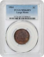 1864 2C PCGS MINT STATE 64 BN LARGE MOTTO 2-CENT PIECE