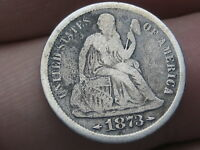 1873 S SEATED LIBERTY SILVER DIME- VG/FINE DETAILS