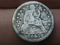 1845 P SEATED LIBERTY SILVER DIME- GOOD/VG DETAILS