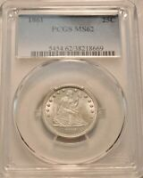 1861 25C PCGS MS 62 SEATED LIBERTY SILVER QUARTER CIVIL WAR