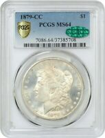 1879-CC $1 PCGS/CAC MINT STATE 64 - KEY DATE FROM CARSON CITY - MORGAN SILVER DOLLAR