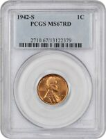 1942-S 1C PCGS MINT STATE 67 RD - LINCOLN CENT