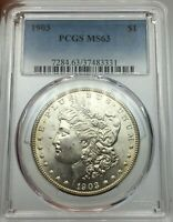 1903-P PCGS MINT STATE 63 MORGAN SILVER DOLLAR LUSTROUS & GOLD RIM TONING