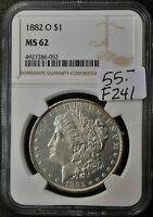1882-O MORGAN SILVER DOLLAR.   IN NGC HOLDER.  MINT STATE 62.   F241