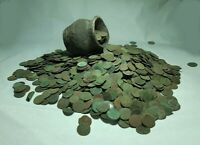 50PCS.EUROPEAN   UNCLEANED   COPPER COINS 1660 66 YEARS SOLID POLAND LITHUANIA