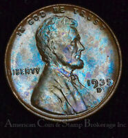 1C ONE CENT PENNY 1935 D UNC BU LINCOLN WHEAT COLORFUL ICE BLUE TONES GEM