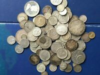 MASSIVE BULK LOT OF 100  OLDER WORLD SILVER COINS LOTA008 NE