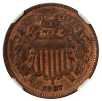 1867 DBL DIE OBV 2C NGC AU 55 FS-101  NEAT TWO CENT COPPER DDO VARIETY
