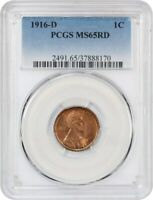 1916-D 1C PCGS MINT STATE 65 RD - LINCOLN CENT - GEM LINCOLN CENT