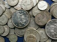 MASSIVE BULK LOT OF 100  OLDER MOSTLY CANADA SILVER COINS LO