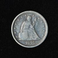 1875 S 20C SEATED LIBERTY SILVER 20 CENT PIECE SAN FRANCISCO
