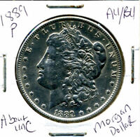 1889 P AU MORGAN DOLLAR 100 CENT  ABOUT UNCIRCULATED 90 SILVER US $1 COIN 1392