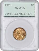 1926 1C PCGS MINT STATE 65 RD OGH RATTLER HOLDER - LINCOLN CENT