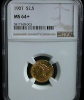 1907 $2.5 NGC MS 64  PLUS 1907 $2.50 LIBERTY GOLD COIN QUART