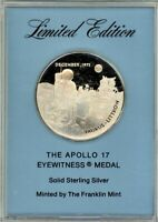 FRANKLIN MINT EYEWITNESS MEDAL   APOLLO 17   LAST MANNED MOON LANDING