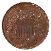 1869 2C PCGS PR 65RB OGH   PROOF TWO CENT COPPER IN OLD GREEN HOLDER