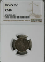 BETTER DATE 1864-S LIBERTY SEATED HALF DIME  NGC EXTRA FINE 40