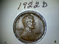 1922 D LINCOLN WHEAT EARS REVERSE SMALL CENTS