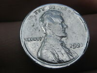 1921 LINCOLN CENT WHEAT CENT- VG DETAILS, ZINC/SILVER PLATED?