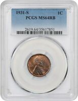 1931-S 1C PCGS MINT STATE 64 RB -  DATE - LINCOLN CENT -  DATE