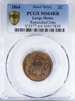 1864 TWO CENT PIECE PCGS MINT STATE 64RB LARGE MOTTO, REPUNCHED DATE, GOLD SHIELD